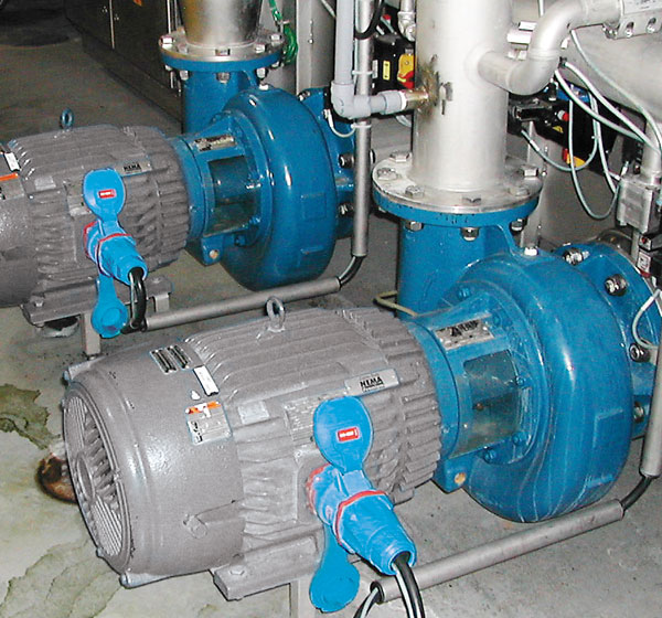 MELTRIC plugs used as motor disconnects in a brewery.